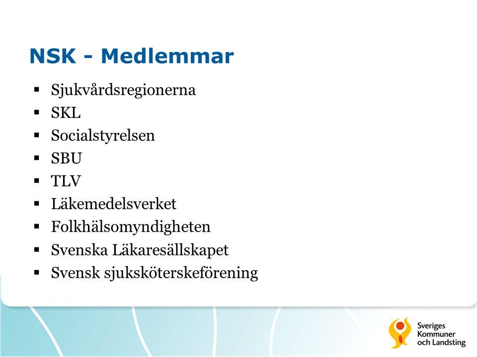 NSK - Medlemmar  Sjukvårdsregionerna  SKL  Socialstyrelsen  SBU  TLV  Läkemedelsverket  Folkhälsomyndigheten  Svenska Läkaresällskapet  Svens