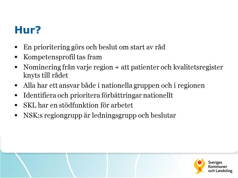 Hur?  En prioritering görs och beslut om start av råd  Kompetensprofil tas fram  Nominering från varje region + att patienter och kvalitetsregister
