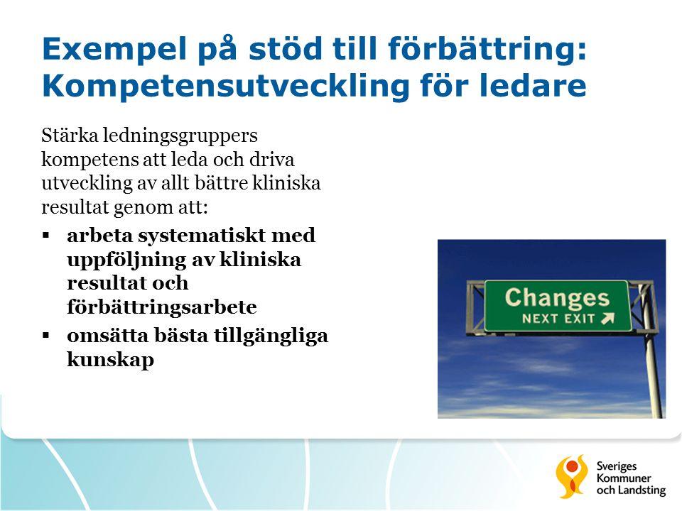 Exempel på stöd till förbättring: Kompetensutveckling för ledare Stärka ledningsgruppers kompetens att leda och driva utveckling av allt bättre klinis