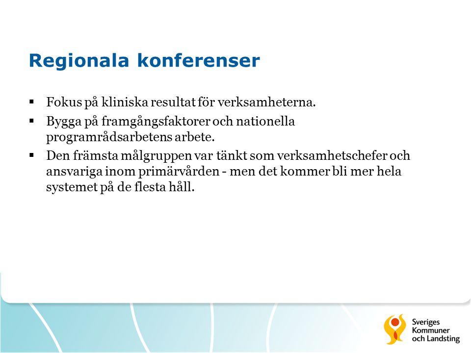 Regionala konferenser  Fokus på kliniska resultat för verksamheterna.  Bygga på framgångsfaktorer och nationella programrådsarbetens arbete.  Den f