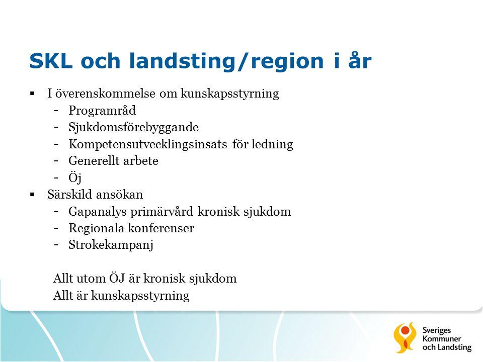 SKL och landsting/region i år  I överenskommelse om kunskapsstyrning - Programråd - Sjukdomsförebyggande - Kompetensutvecklingsinsats för ledning - G