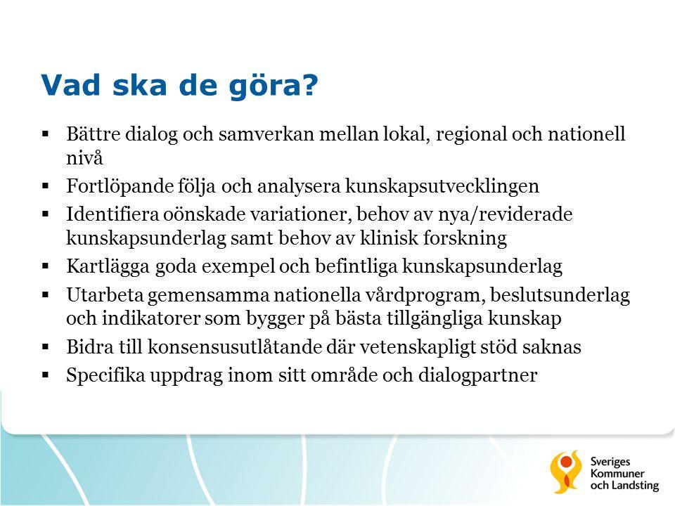 Vad ska de göra?  Bättre dialog och samverkan mellan lokal, regional och nationell nivå  Fortlöpande följa och analysera kunskapsutvecklingen  Iden