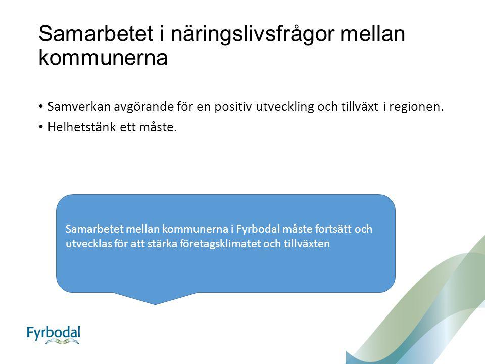 Samarbetet i näringslivsfrågor mellan kommunerna Samverkan avgörande för en positiv utveckling och tillväxt i regionen.