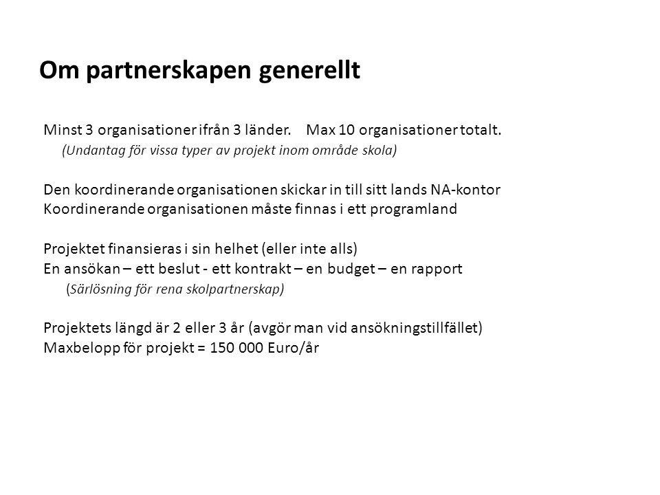 Sv Om partnerskapen generellt Minst 3 organisationer ifrån 3 länder.