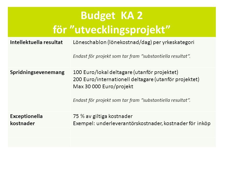 Sv Budget KA 2 för utvecklingsprojekt Intellektuella resultatLöneschablon (lönekostnad/dag) per yrkeskategori Endast för projekt som tar fram substantiella resultat .