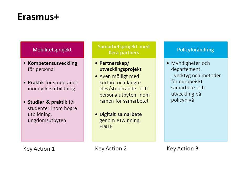 Sv Mobilitetsprojekt Kompetensutveckling för personal Praktik för studerande inom yrkesutbildning Studier & praktik för studenter inom högre utbildning, ungdomsutbyten Samarbetsprojekt med flera partners Partnerskap/ utvecklingsprojekt Även möjligt med kortare och längre elev/studerande- och personalutbyten inom ramen för samarbetet Digitalt samarbete genom eTwinning, EPALE Policyförändring Myndigheter och departement - verktyg och metoder för europeiskt samarbete och utveckling på policynivå Erasmus+ Key Action 1 Key Action 2Key Action 3