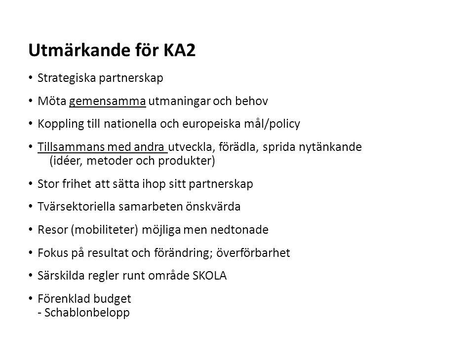 Sv Budget KA 2 för lärandeprojekt Resa275 Euro/deltagare (om avstånd kortare än 200 mil) 360 Euro/deltagare ( om avstånd 200 eller längre) Individuellt stöd För elever/studerande och personal Schablon per dag - långa mobiliteter (varierar med land och vistelselängd) Schablon per dag – korta mobiliteter (varierar med vistelselängd) Lång mobilitet = längre än 2 månader Språkliga förberedelser150 Euro/deltagare Endast för långa mobiliteter Mobiliteter inom partnerskapen måste särskilt motiveras