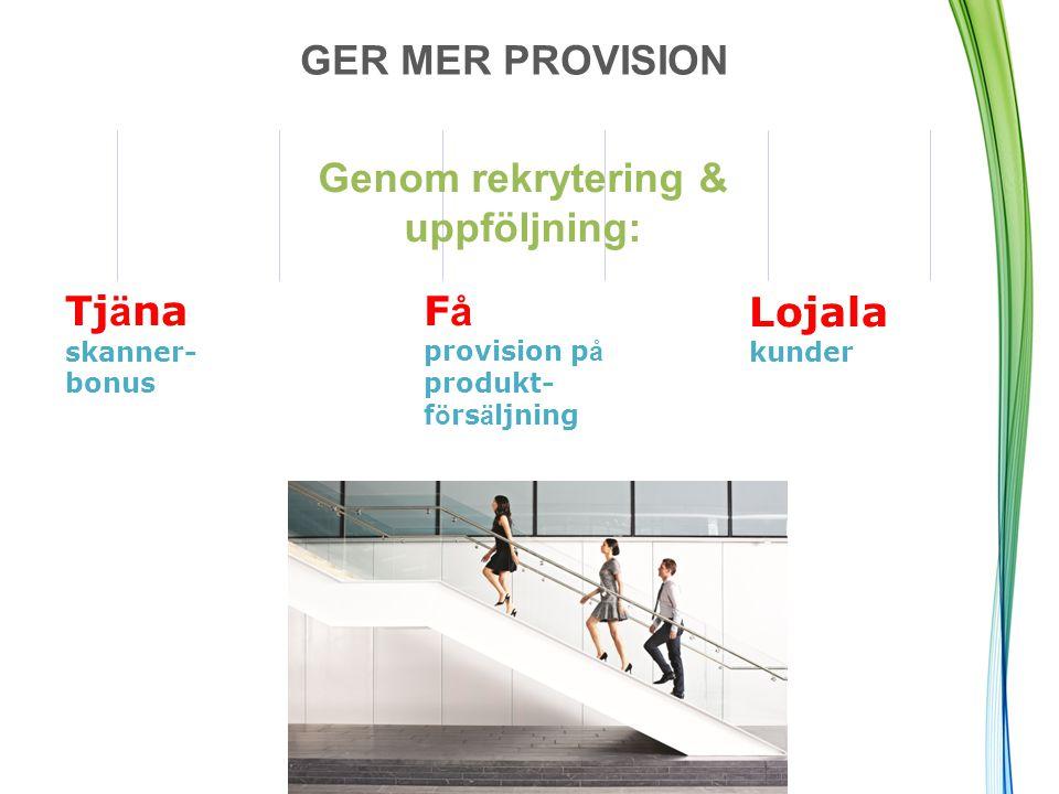 GER MER PROVISION F å provision p å produkt- f ö rs ä ljning Tj ä na skanner- bonus Genom rekrytering & uppföljning: Lojala kunder