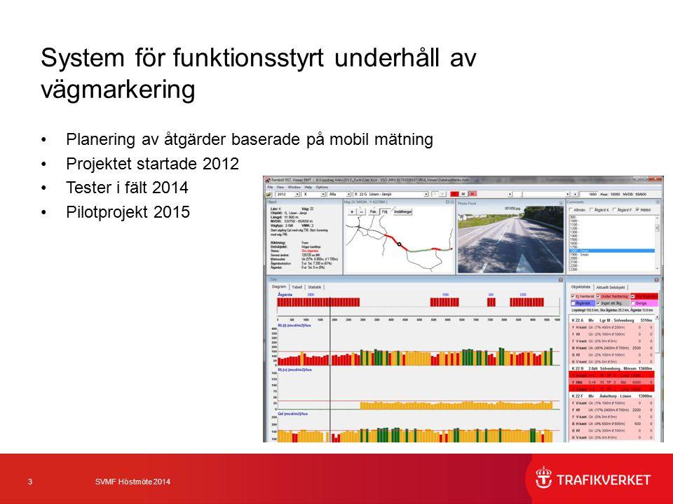 3 SVMF Höstmöte 2014 System för funktionsstyrt underhåll av vägmarkering Planering av åtgärder baserade på mobil mätning Projektet startade 2012 Tester i fält 2014 Pilotprojekt 2015