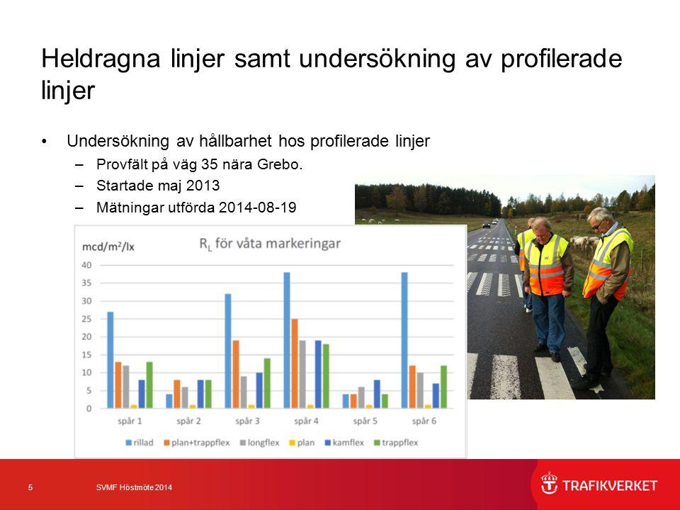5 SVMF Höstmöte 2014 Heldragna linjer samt undersökning av profilerade linjer Undersökning av hållbarhet hos profilerade linjer –Provfält på väg 35 nä