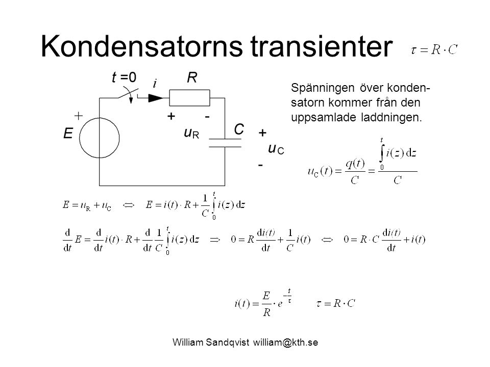 Kondensatorns transienter Spänningen över konden- satorn kommer från den uppsamlade laddningen.