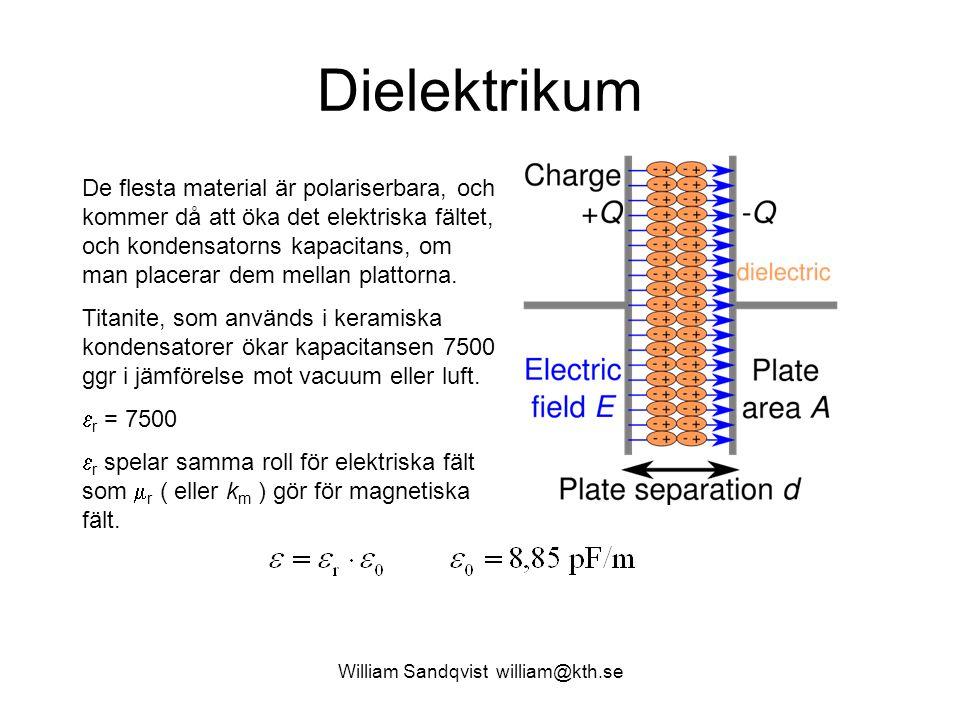 William Sandqvist william@kth.se Dielektrikum De flesta material är polariserbara, och kommer då att öka det elektriska fältet, och kondensatorns kapa