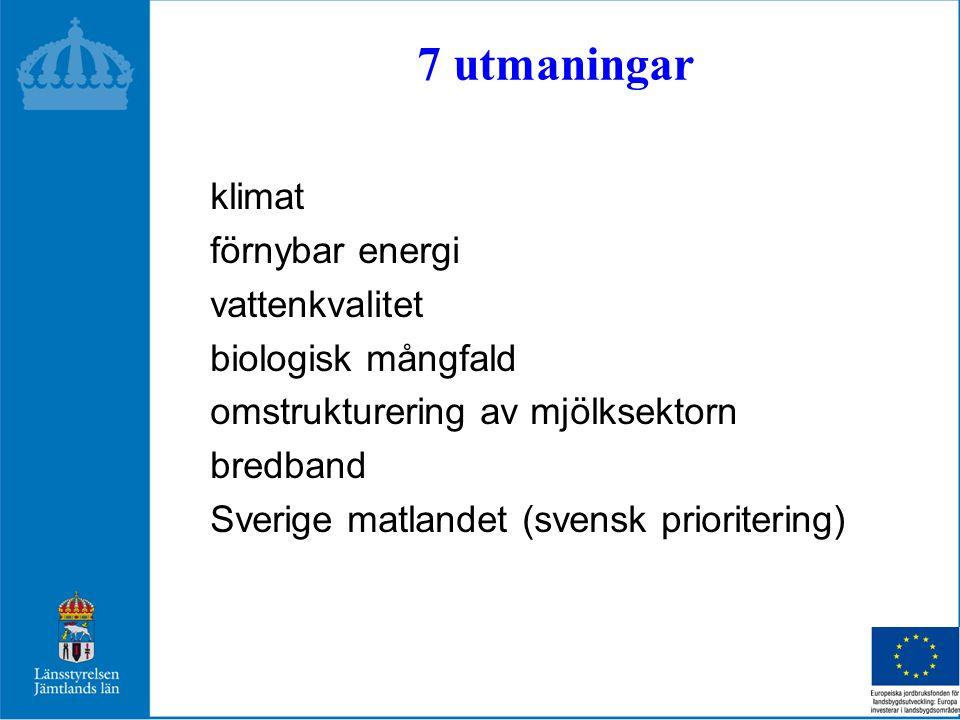 7 utmaningar klimat förnybar energi vattenkvalitet biologisk mångfald omstrukturering av mjölksektorn bredband Sverige matlandet (svensk prioritering)