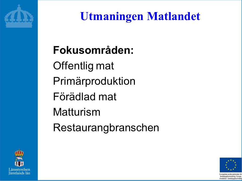 Utmaningen Matlandet Fokusområden: Offentlig mat Primärproduktion Förädlad mat Matturism Restaurangbranschen