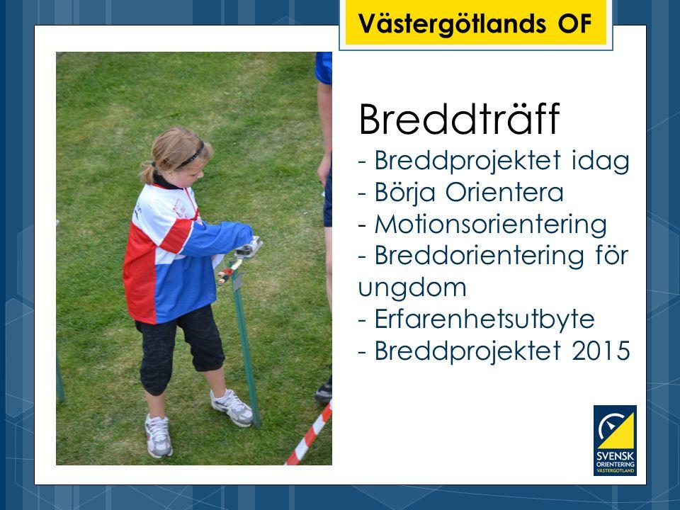 Breddträff - Breddprojektet idag - Börja Orientera - Motionsorientering - Breddorientering för ungdom - Erfarenhetsutbyte - Breddprojektet 2015 Västergötlands OF