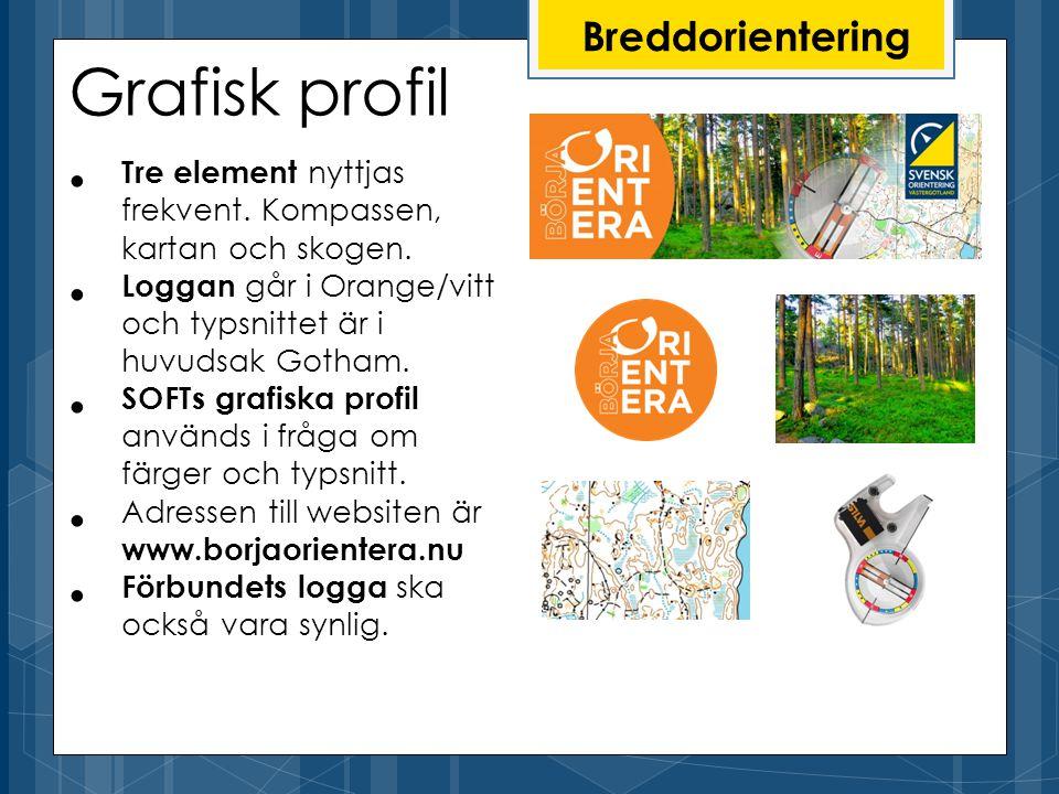 Grafisk profil Tre element nyttjas frekvent. Kompassen, kartan och skogen.