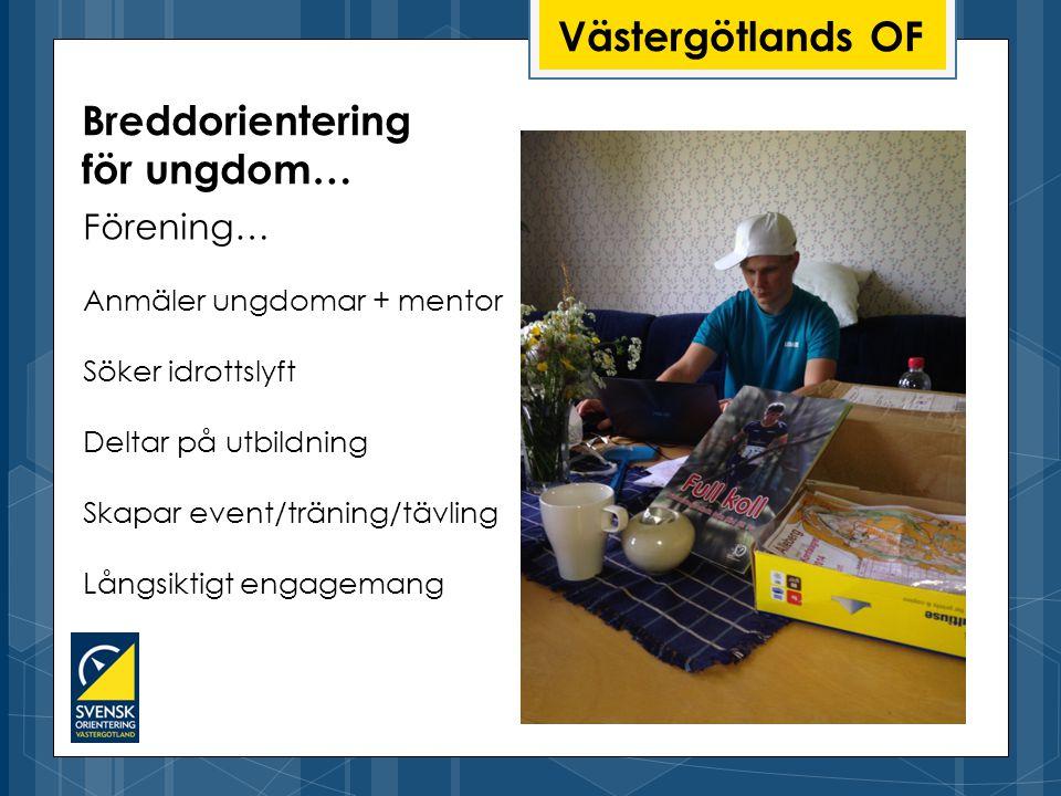 Västergötlands OF Förening… Anmäler ungdomar + mentor Söker idrottslyft Deltar på utbildning Skapar event/träning/tävling Långsiktigt engagemang Breddorientering för ungdom…