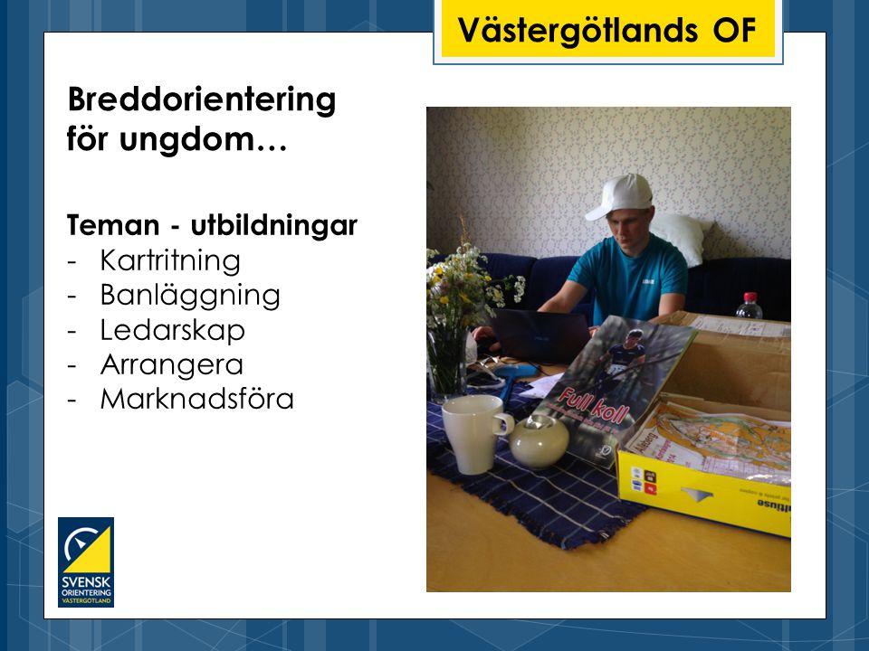 Västergötlands OF Teman - utbildningar -Kartritning -Banläggning -Ledarskap -Arrangera -Marknadsföra Breddorientering för ungdom…
