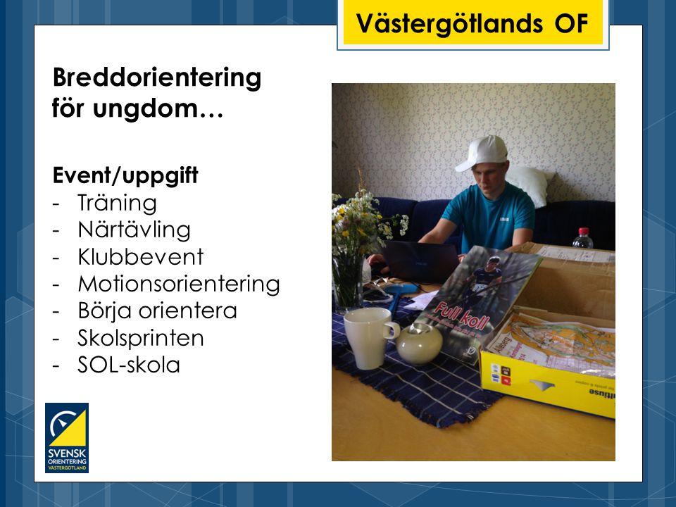Västergötlands OF Event/uppgift -Träning -Närtävling -Klubbevent -Motionsorientering -Börja orientera -Skolsprinten -SOL-skola Breddorientering för ungdom…