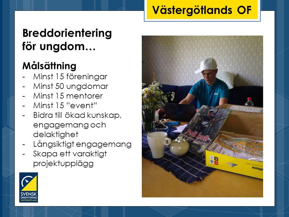 Västergötlands OF Målsättning -Minst 15 föreningar -Minst 50 ungdomar -Minst 15 mentorer -Minst 15 event -Bidra till ökad kunskap, engagemang och delaktighet -Långsiktigt engagemang -Skapa ett varaktigt projektupplägg Breddorientering för ungdom…