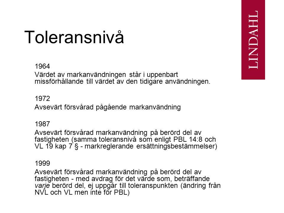 Toleransnivå 1964 Värdet av markanvändningen står i uppenbart missförhållande till värdet av den tidigare användningen. 1972 Avsevärt försvårad pågåen