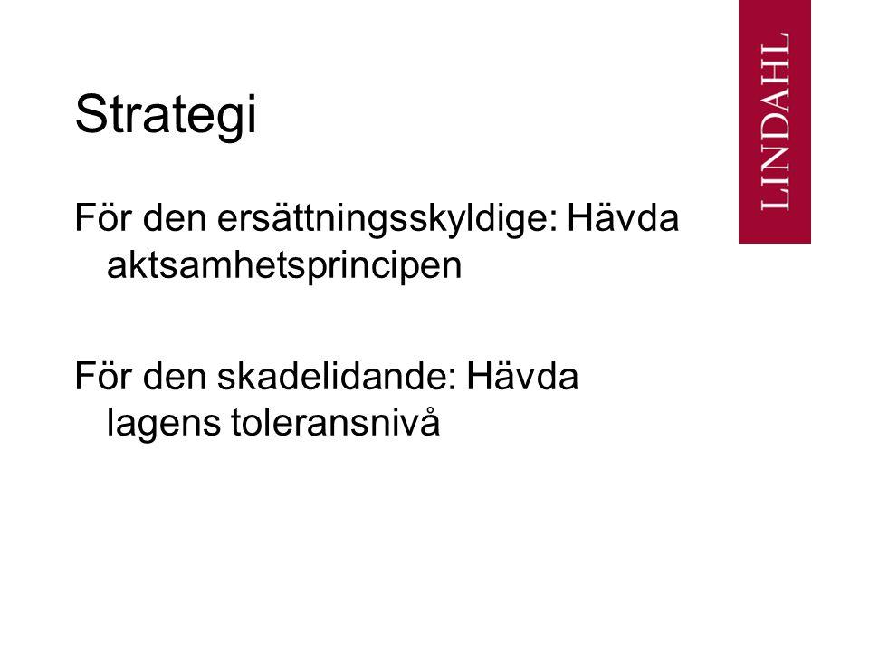 Strategi För den ersättningsskyldige: Hävda aktsamhetsprincipen För den skadelidande: Hävda lagens toleransnivå