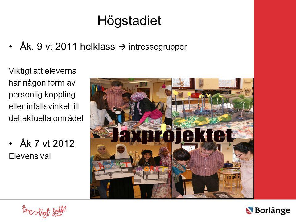 Högstadiet Åk. 9 vt 2011 helklass  intressegrupper Viktigt att eleverna har någon form av personlig koppling eller infallsvinkel till det aktuella om