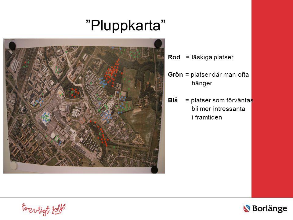 """""""Pluppkarta"""" Röd = läskiga platser Grön = platser där man ofta hänger Blå = platser som förväntas bli mer intressanta i framtiden"""