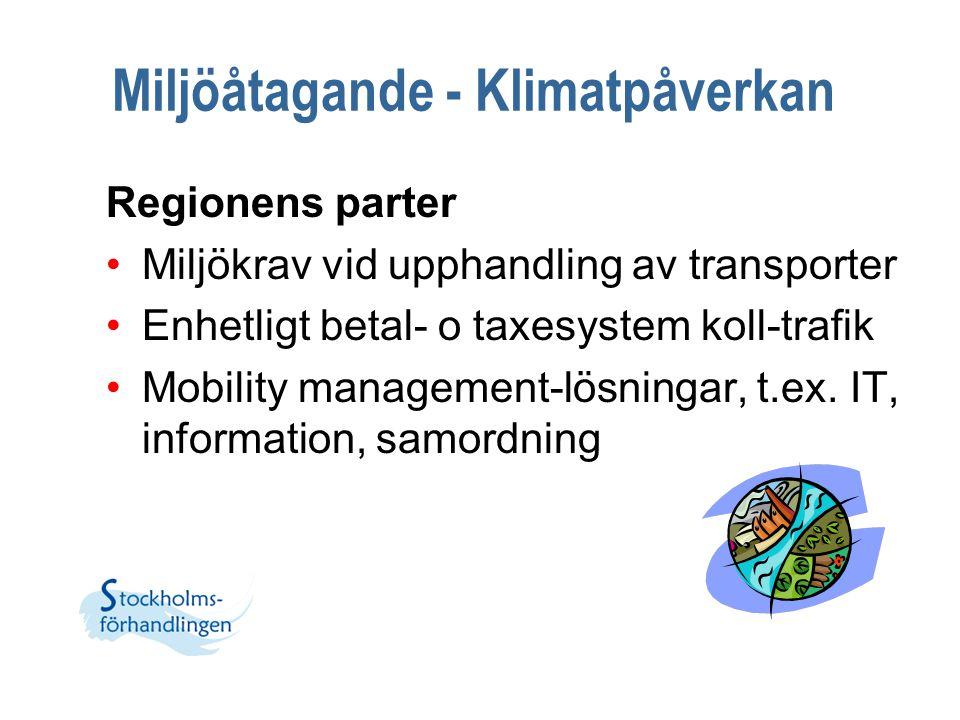 Miljöåtagande - Klimatpåverkan Regionens parter Miljökrav vid upphandling av transporter Enhetligt betal- o taxesystem koll-trafik Mobility management