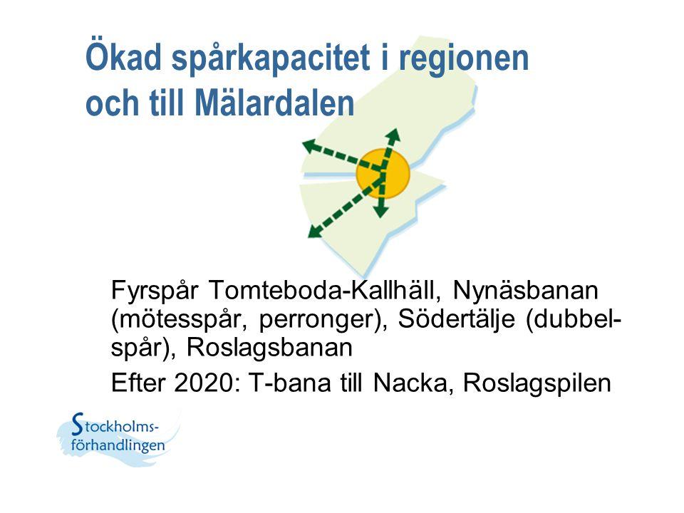 Ökad spårkapacitet i regionen och till Mälardalen Fyrspår Tomteboda-Kallhäll, Nynäsbanan (mötesspår, perronger), Södertälje (dubbel- spår), Roslagsban