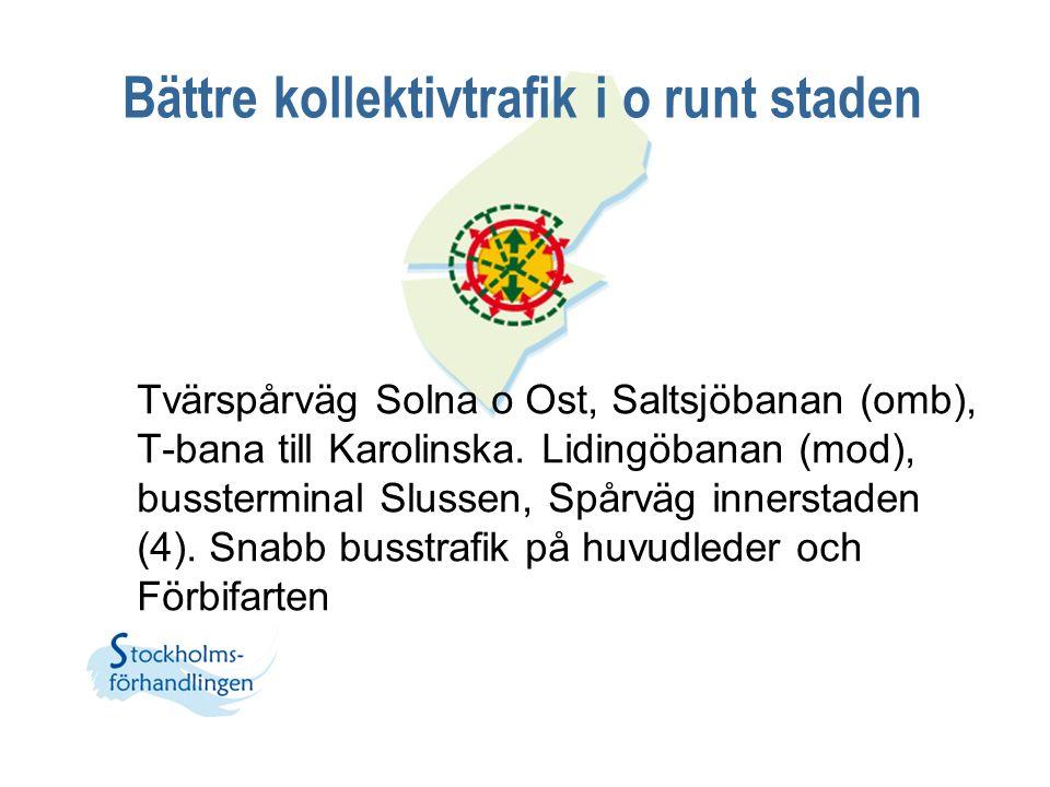 Bättre kollektivtrafik i o runt staden Tvärspårväg Solna o Ost, Saltsjöbanan (omb), T-bana till Karolinska. Lidingöbanan (mod), bussterminal Slussen,