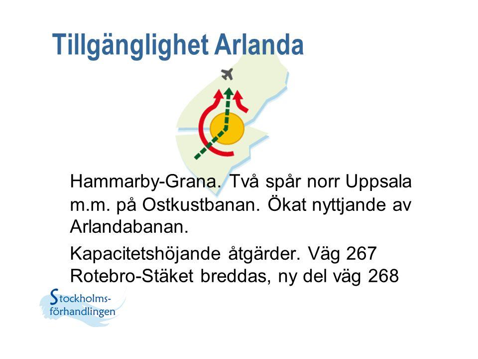 Tillgänglighet Arlanda Hammarby-Grana. Två spår norr Uppsala m.m. på Ostkustbanan. Ökat nyttjande av Arlandabanan. Kapacitetshöjande åtgärder. Väg 267