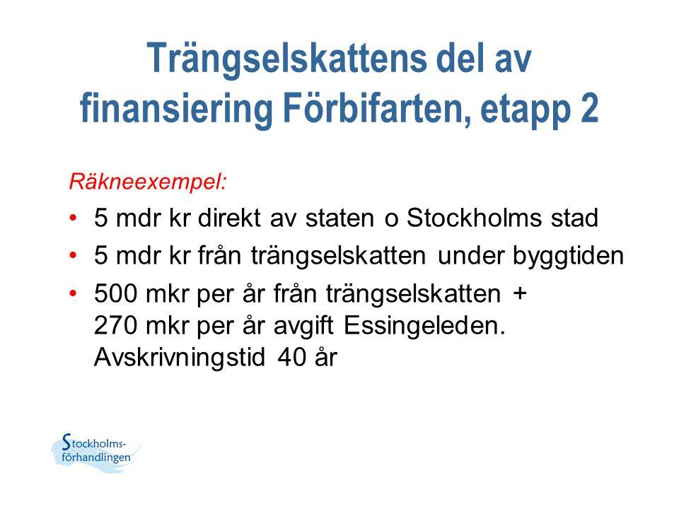Trängselskattens del av finansiering Förbifarten, etapp 2 Räkneexempel: 5 mdr kr direkt av staten o Stockholms stad 5 mdr kr från trängselskatten unde