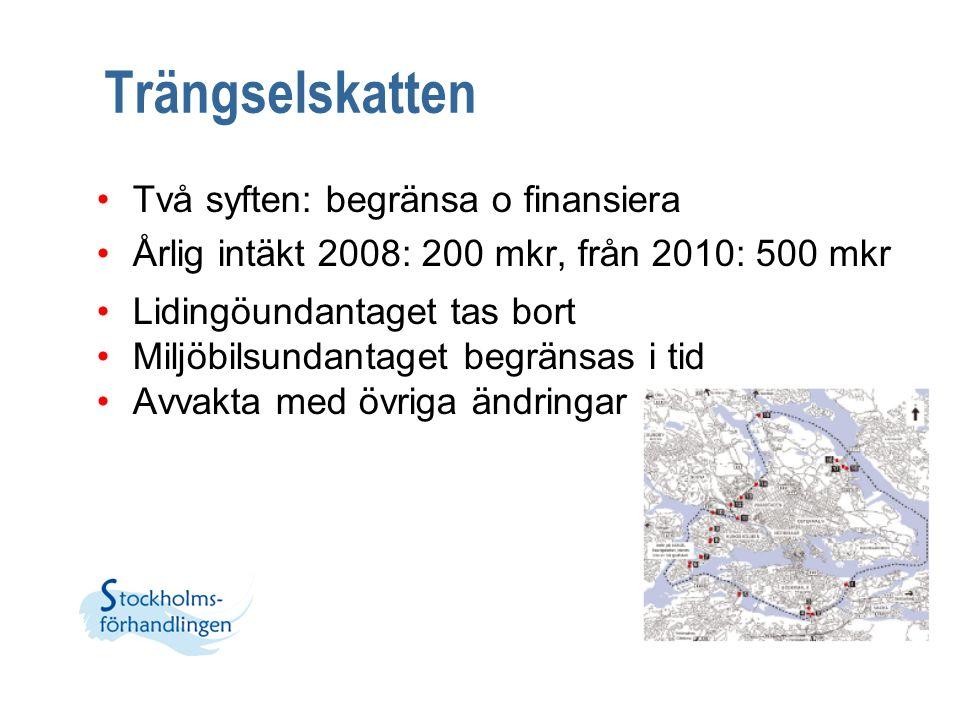 Trängselskatten Två syften: begränsa o finansiera Årlig intäkt 2008: 200 mkr, från 2010: 500 mkr Lidingöundantaget tas bort Miljöbilsundantaget begrän