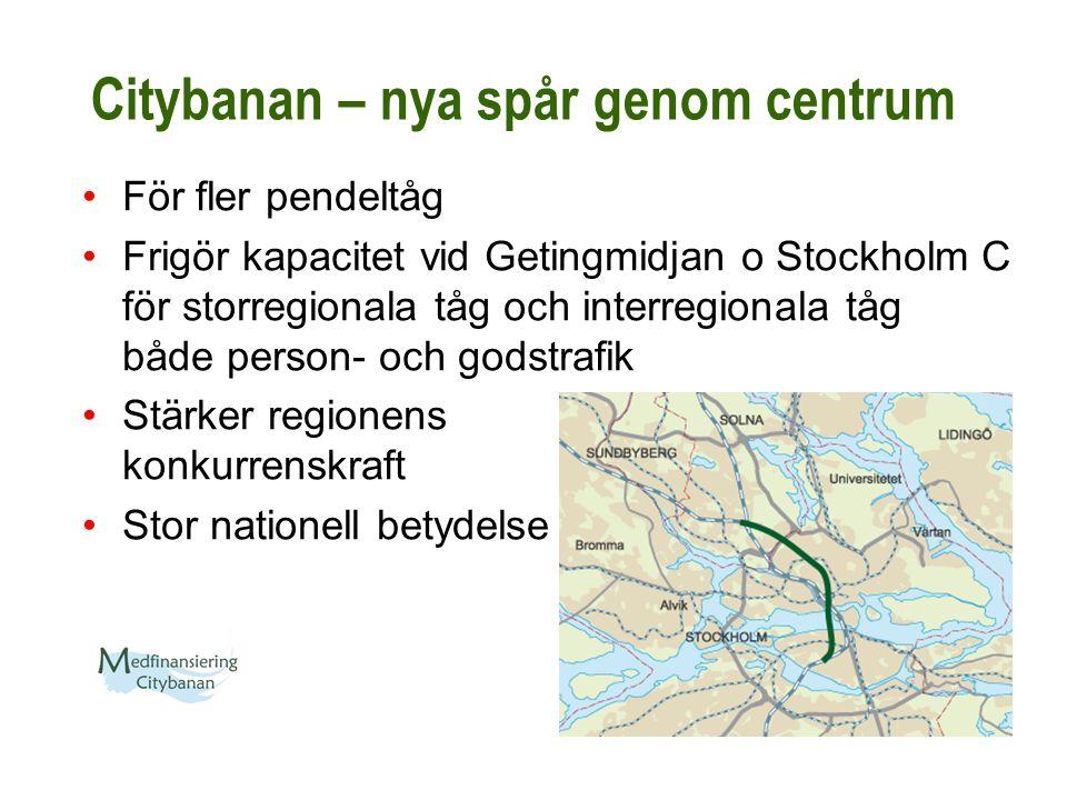 Citybanan – nya spår genom centrum För fler pendeltåg Frigör kapacitet vid Getingmidjan o Stockholm C för storregionala tåg och interregionala tåg båd