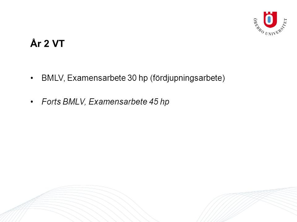 År 2 VT BMLV, Examensarbete 30 hp (fördjupningsarbete) Forts BMLV, Examensarbete 45 hp