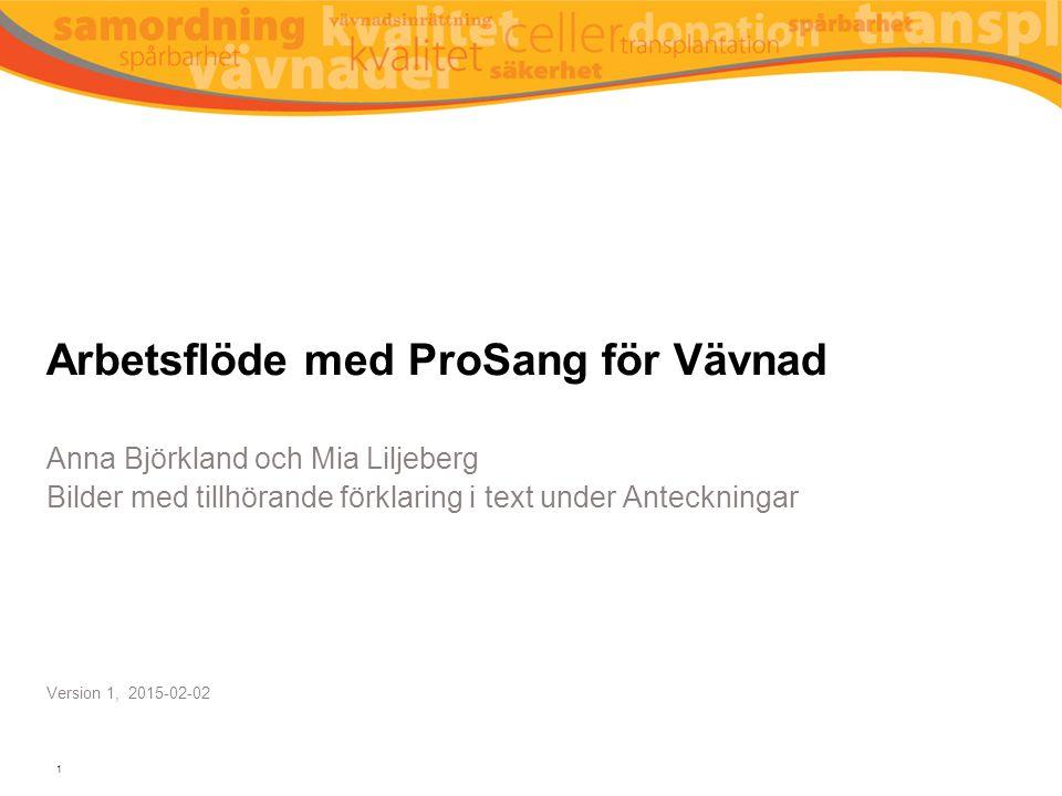 Arbetsflöde med ProSang för Vävnad Anna Björkland och Mia Liljeberg Bilder med tillhörande förklaring i text under Anteckningar Version 1, 2015-02-02 1