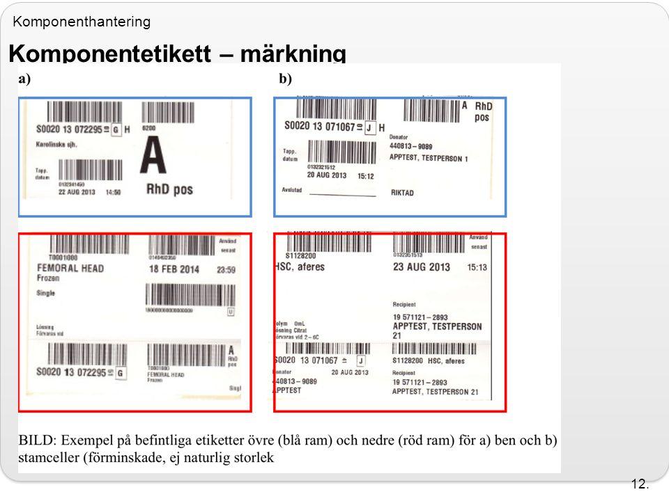 Komponenthantering Komponentetikett – märkning 12.
