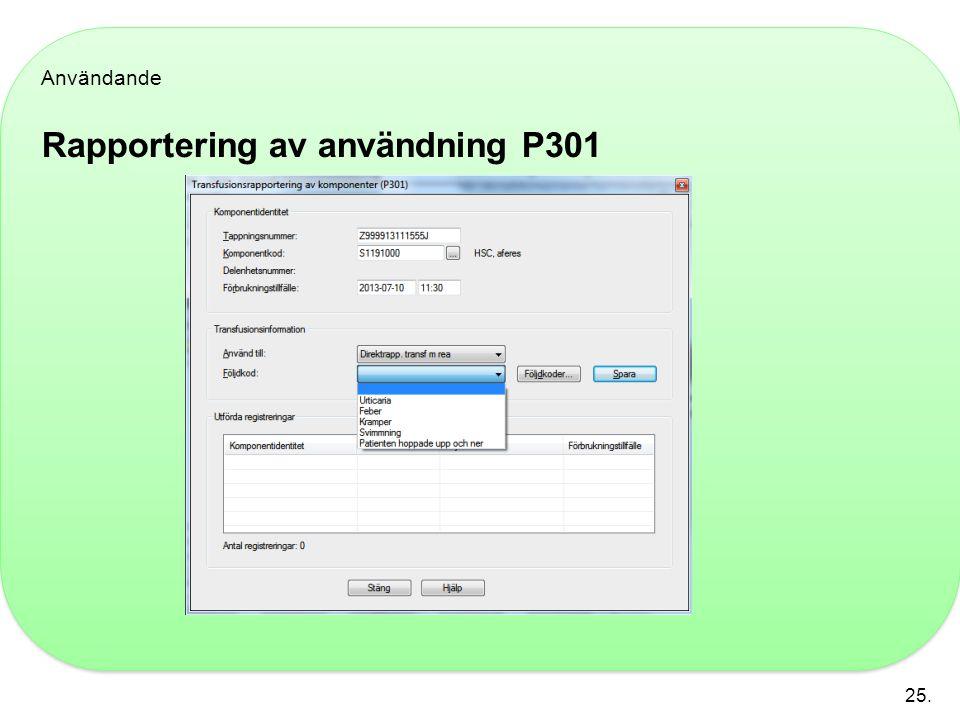 Användande Rapportering av användning P301 25.