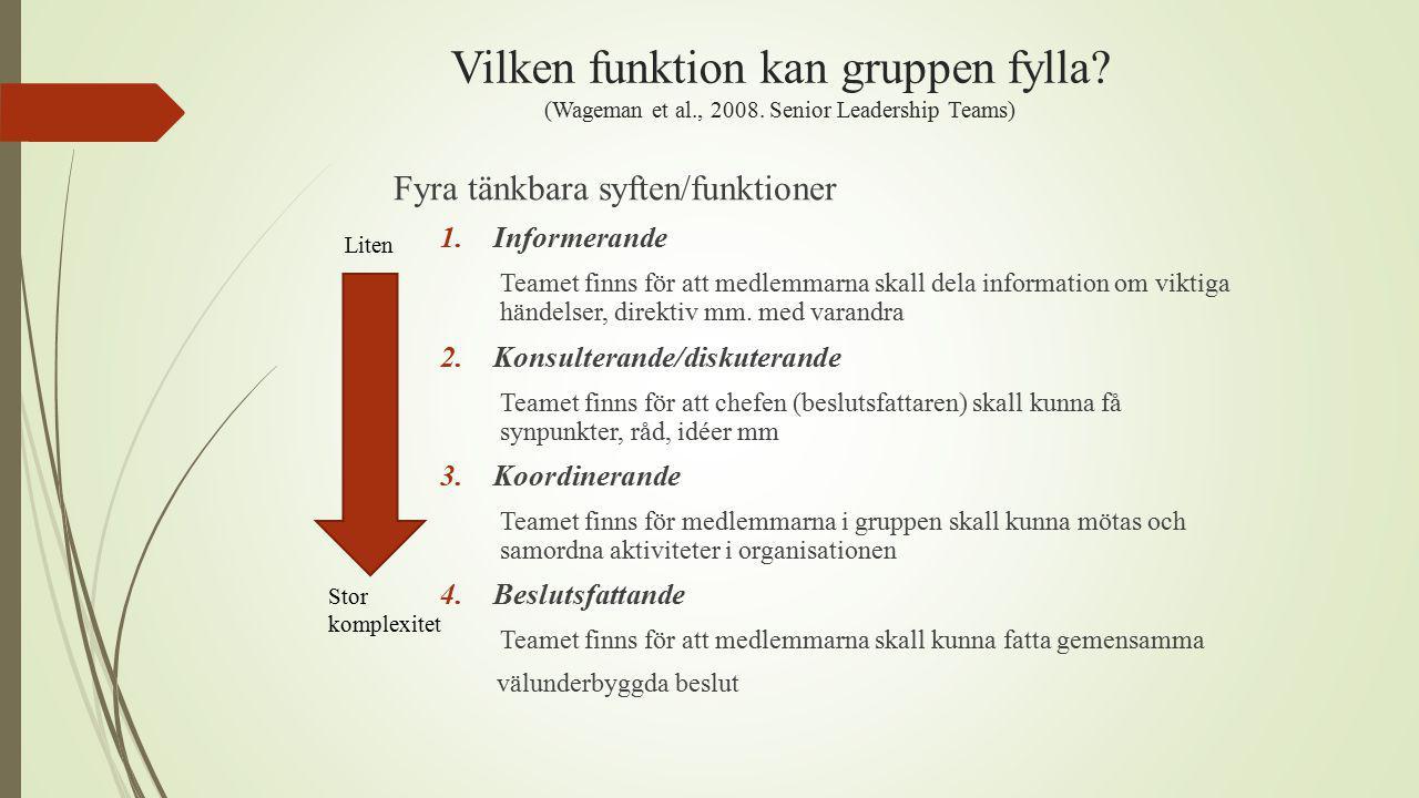 Vilken funktion kan gruppen fylla.(Wageman et al., 2008.