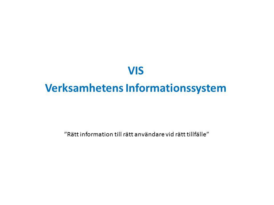 VIS Verksamhetens Informationssystem Rätt information till rätt användare vid rätt tillfälle
