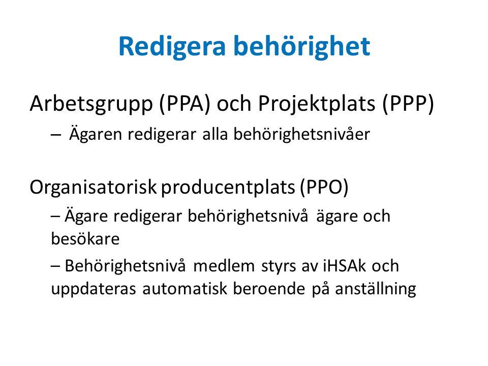 Redigera behörighet Arbetsgrupp (PPA) och Projektplats (PPP) – Ägaren redigerar alla behörighetsnivåer Organisatorisk producentplats (PPO) – Ägare redigerar behörighetsnivå ägare och besökare – Behörighetsnivå medlem styrs av iHSAk och uppdateras automatisk beroende på anställning