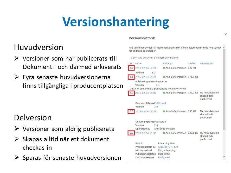 Versionshantering Huvudversion  V ersioner som har publicerats till Dokument+ och därmed arkiverats  Fyra senaste huvudversionerna finns tillgänglig