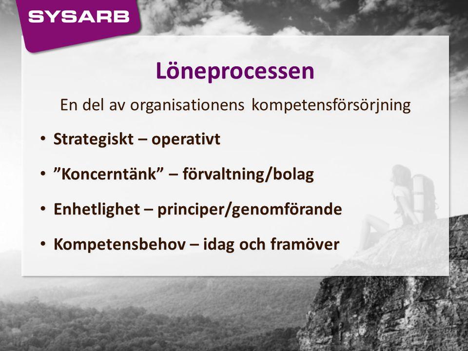 """Löneprocessen En del av organisationens kompetensförsörjning Strategiskt – operativt """"Koncerntänk"""" – förvaltning/bolag Enhetlighet – principer/genomfö"""