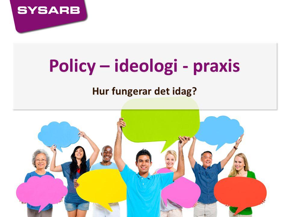 Policy – ideologi - praxis Hur fungerar det idag? Policy – ideologi - praxis Hur fungerar det idag?
