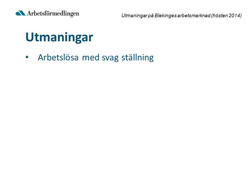 Utmaningar på Blekinges arbetsmarknad (hösten 2014) Utmaningar Arbetslösa med svag ställning