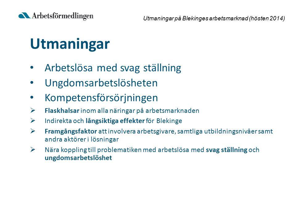 Utmaningar på Blekinges arbetsmarknad (hösten 2014) Utmaningar Arbetslösa med svag ställning Ungdomsarbetslösheten Kompetensförsörjningen  Flaskhalsar inom alla näringar på arbetsmarknaden  Indirekta och långsiktiga effekter för Blekinge  Framgångsfaktor att involvera arbetsgivare, samtliga utbildningsnivåer samt andra aktörer i lösningar  Nära koppling till problematiken med arbetslösa med svag ställning och ungdomsarbetslöshet