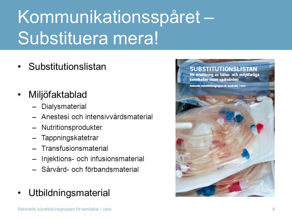 Kommunikationsspåret – Substituera mera! Substitutionslistan Miljöfaktablad –Dialysmaterial –Anestesi och intensivvårdsmaterial –Nutritionsprodukter –