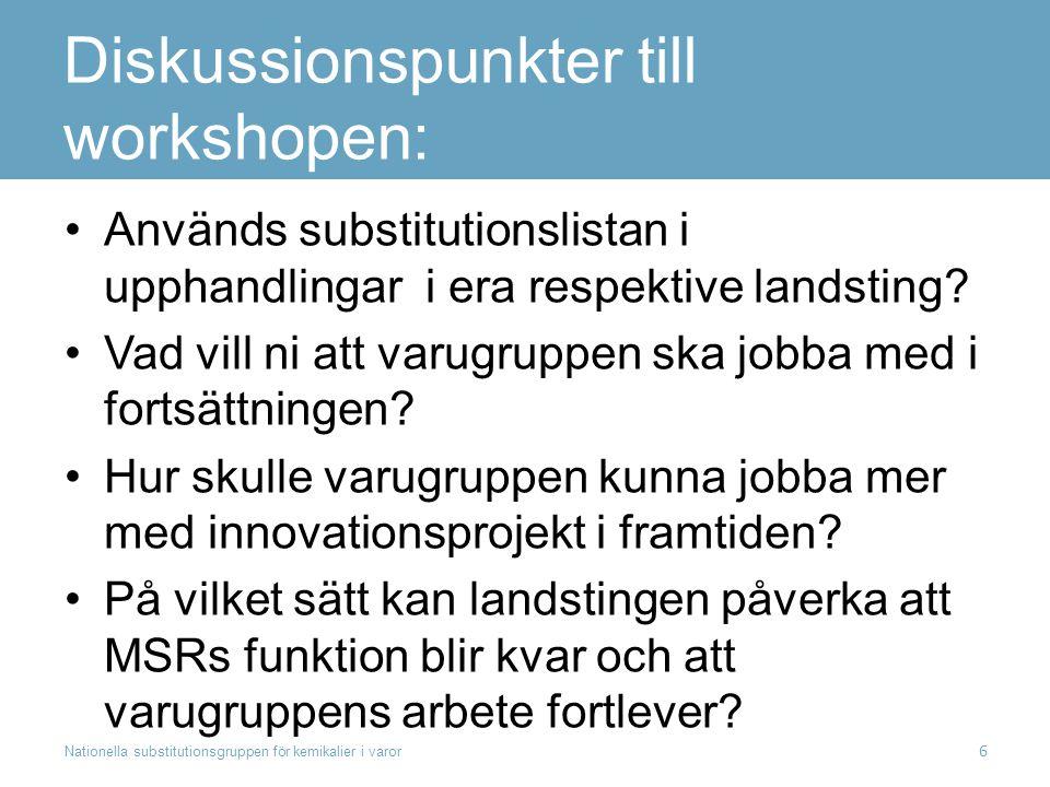 Diskussionspunkter till workshopen: Används substitutionslistan i upphandlingar i era respektive landsting? Vad vill ni att varugruppen ska jobba med