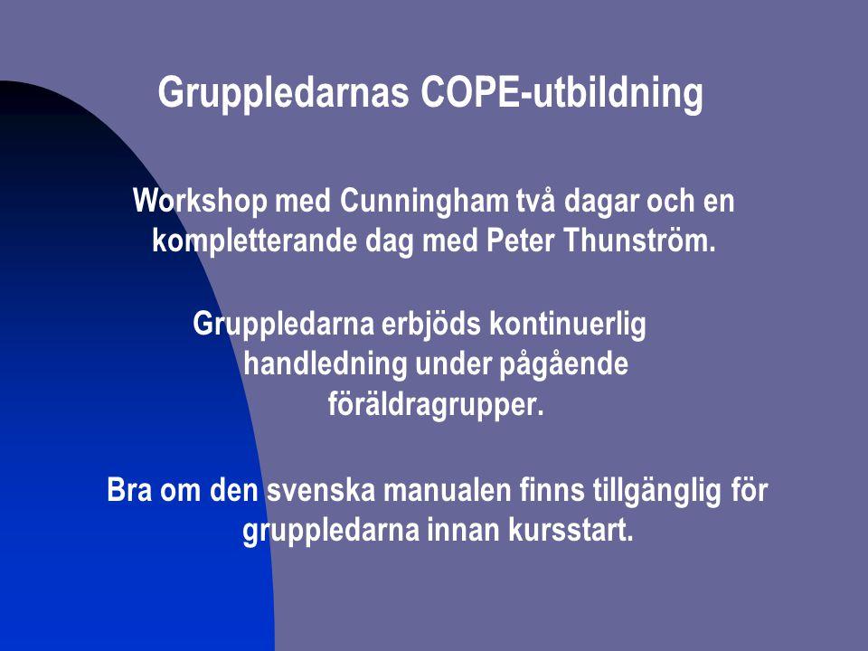 Gruppledarnas COPE-utbildning Workshop med Cunningham två dagar och en kompletterande dag med Peter Thunström. Gruppledarna erbjöds kontinuerlig handl